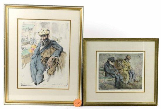 Pair of Framed Antique Joseph Margulies Aquatint Etchings