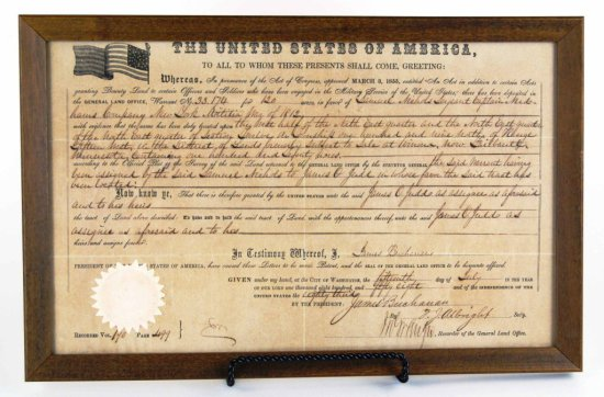 RARE 1858 US Military Service Land Deed Document, Autographed by President Buchanan