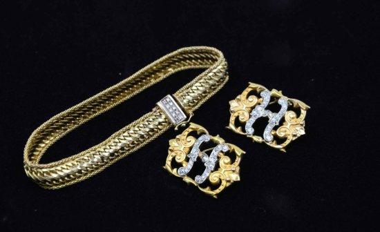 14K Yellow Gold & Diamond Jewelry – Bracelet & Earrings/Shoe Clips