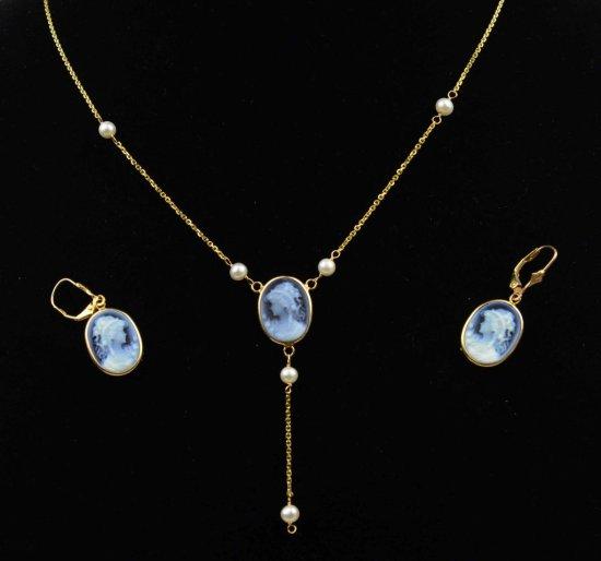 Vintage 14K Gold Cameo on Black Onyx Necklace & Earring Set