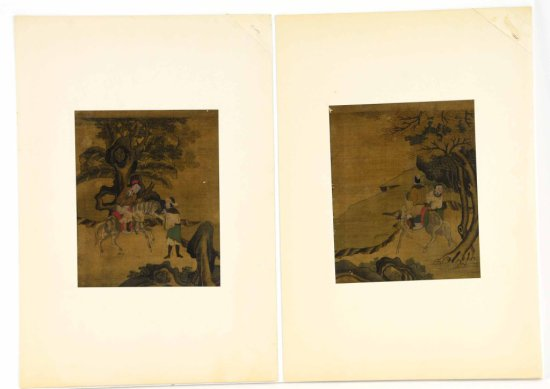 Pair of Antique Original Signed Oriental Paintings on Silk
