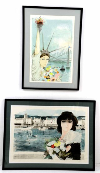 Pair of Signed Lithographs, by Listed artist, Charles Levier