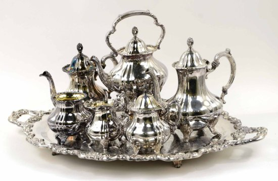 Vintage 7 Piece Silverplate Tea Set, E.P.C.A Lancaster Rose by Poole Silver