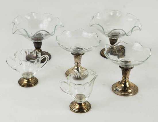 Set of 6 Pcs Sterling Weighted Glass Bowls, Creamer & Sugar – Fina, Alvin, & Whiting