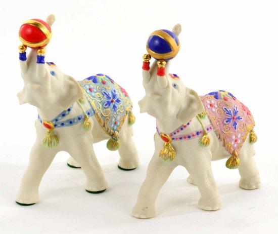 Vintage Pair of Signed Cybis 1975 Porcelain Elephant Scupltures