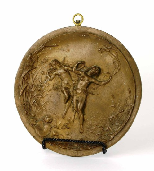 Antique Art Nouveau Nude Figural Bronze Wall Plaque