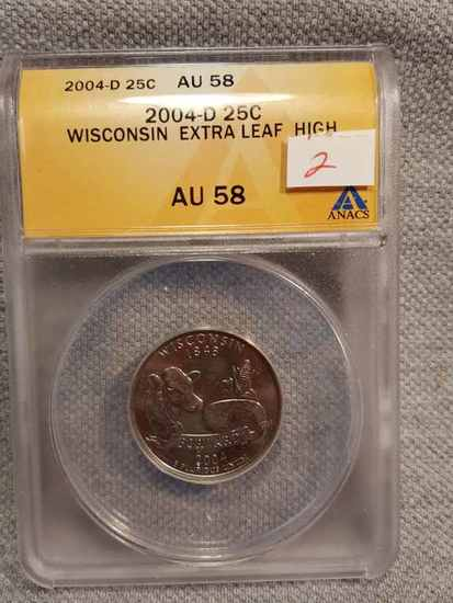 2004-D Wisconsin State Quarter Extra High Leaf | Coins