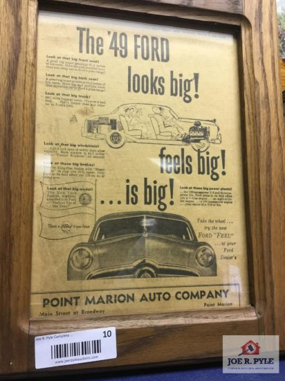 """1949 Ford Point Marion Auto Advertising Sign (11.5""""x8"""")"""
