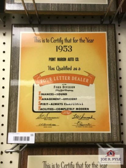 1953 Point Marion Auto Company Certificate of qualification