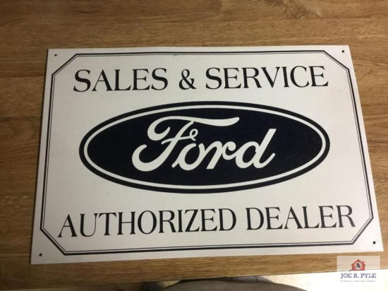 """Ford Sales ; Service authorized dealer single sided metal (7.5""""x16"""")"""