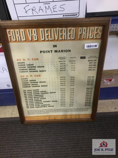 """Ford V-8 Delivery Price Advertisement (2'x17.5"""")"""