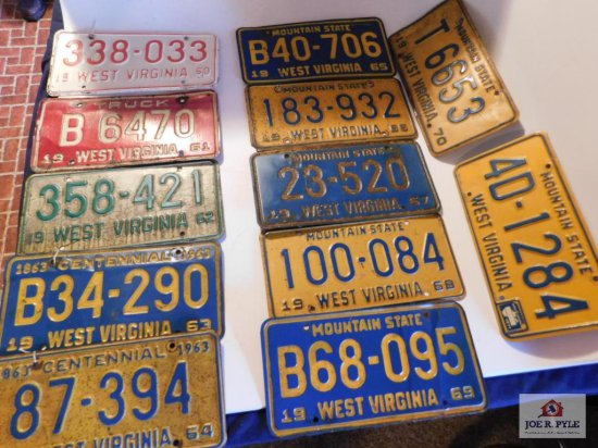 12 License Plates 1960-1971