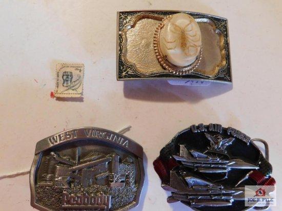 3 Belt Buckles (1) Scorpion (1) Peabody Coal WV 1990 (1) US Air Force 1983 USA
