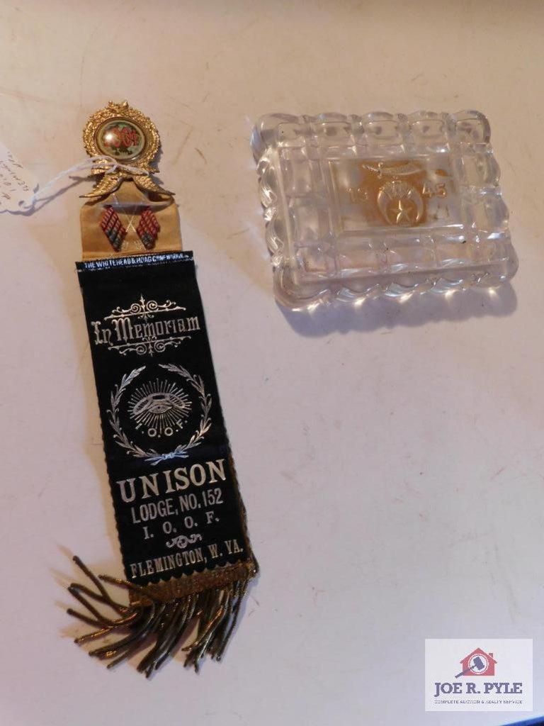 2 Lodge Items (1) Union # 152 Flemington WV (1) 1945 Osiris Shriner