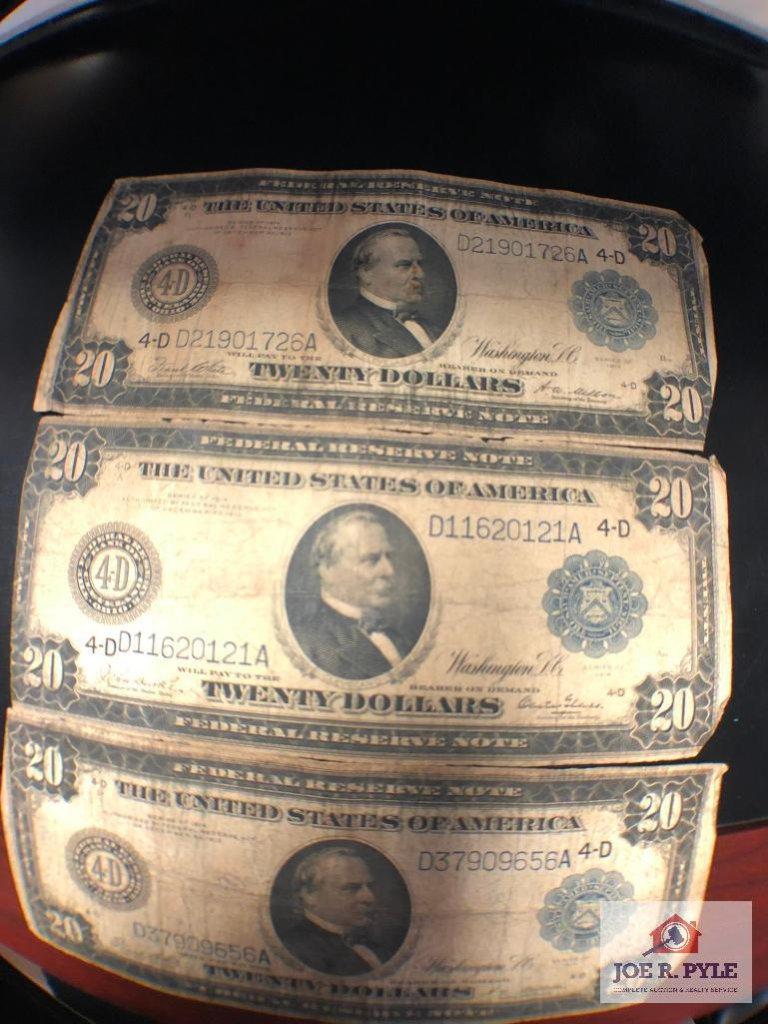 Three 1914 $20 Bills
