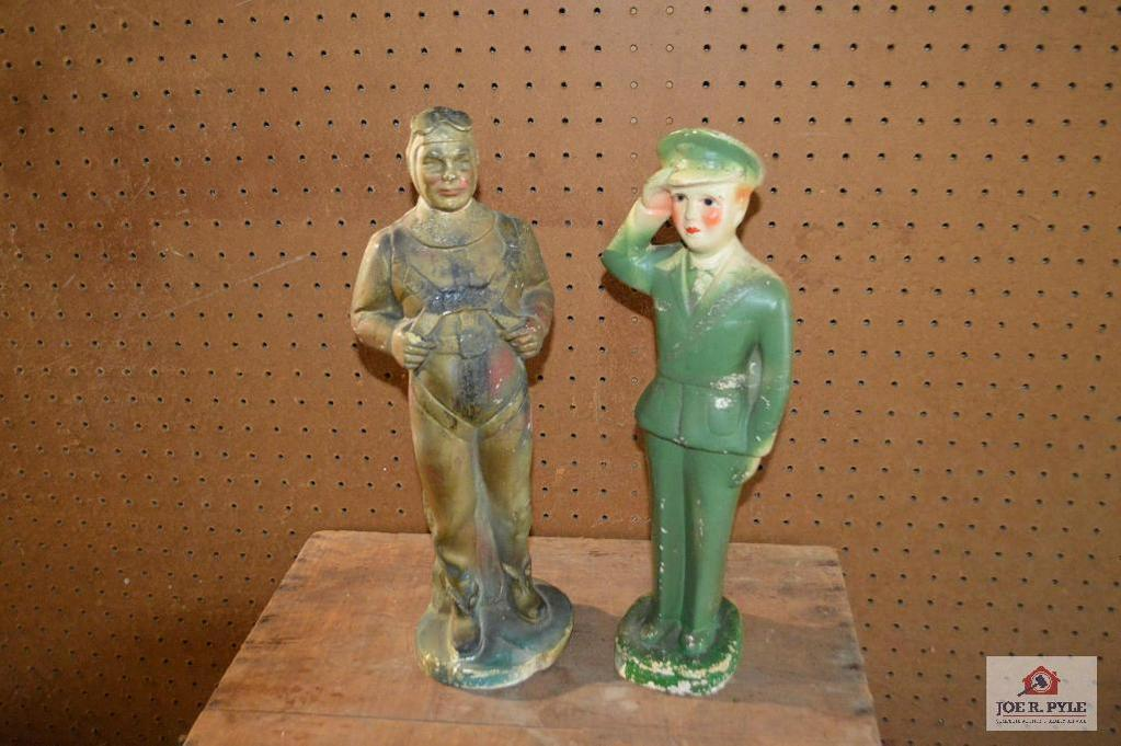 Lot: Lot Of 2 Pcs Of Chalk ware: 2 Military Figures
