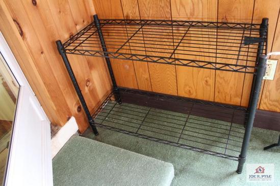 Black metal wire shelf