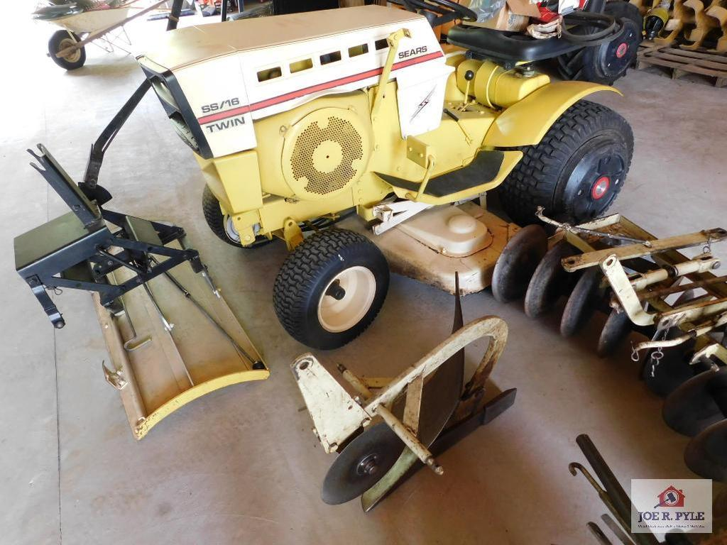1972 Sears Lawn Tractor SS16 with 42 Inch Mower with Accessories for Tractor: 10 Inch Plow, Disc