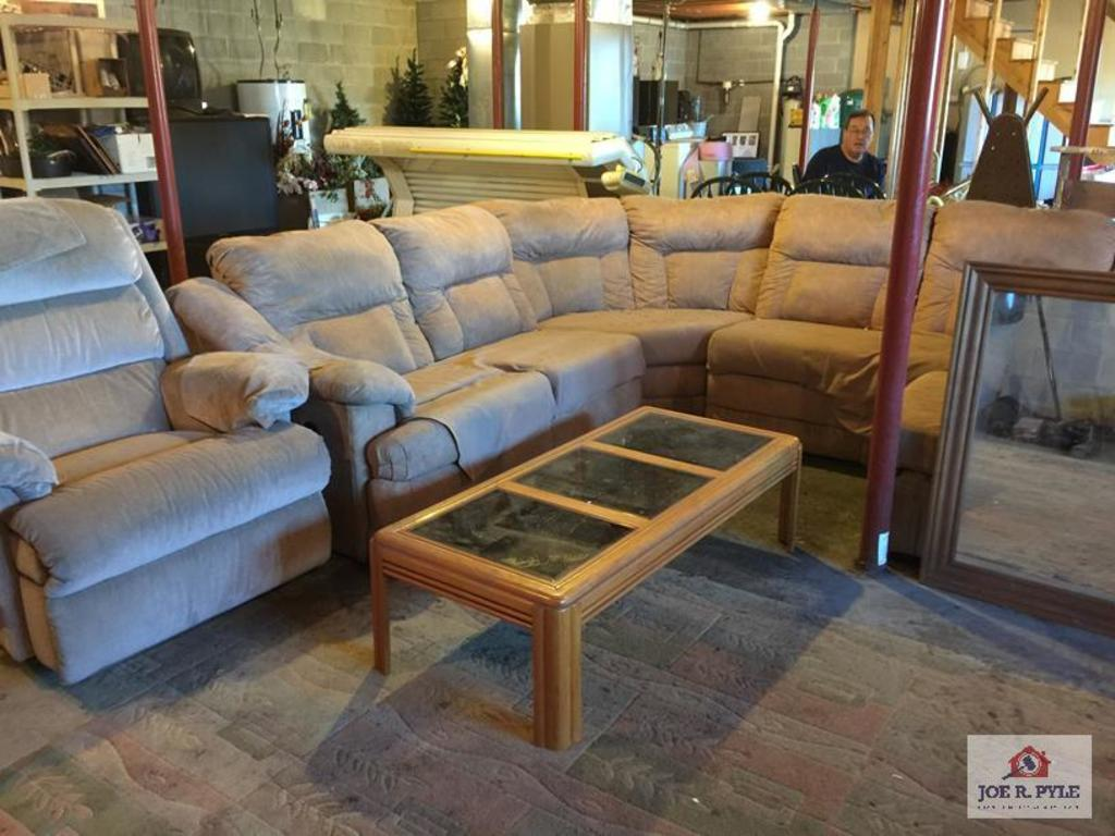 Four (4) Nice sectional, recliner, and mirror