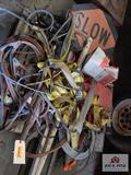 Lot of road signs, safety belts, jumper cables