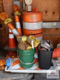 Lot of safety cones, reflectors