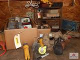 Lot of tools, drill bits, oil cans, etc.