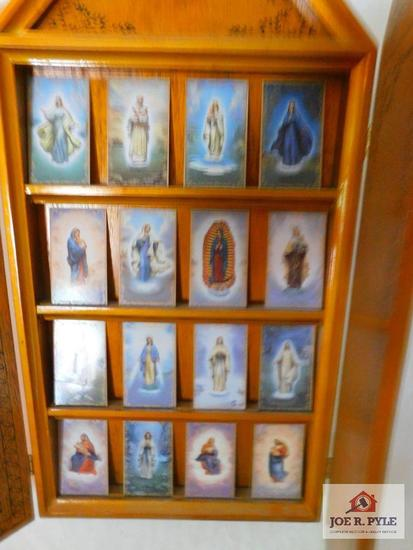 Bradford edition of ceramic Roman Catholic cards in wood display case