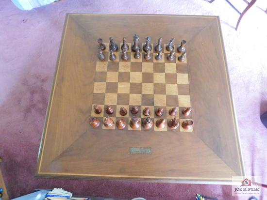 Hand crafted , swivel top chess table, with drawer and chess pieces