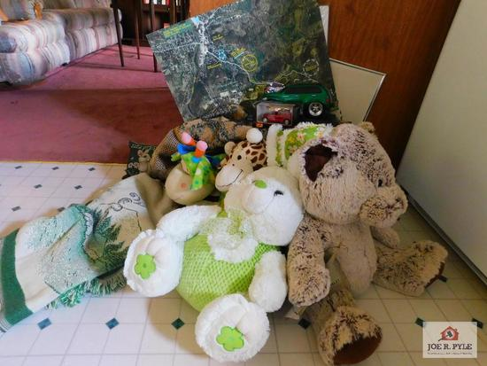 Throws, stuffed animals, pictures and toy cars