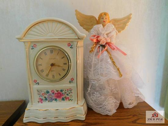 Ceramic clock and angel tree topper