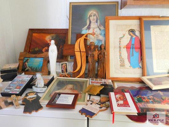 Religious items: pictures, statues