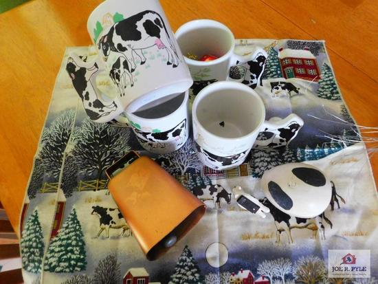 Cow mugs, napkins cow bell