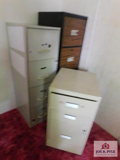 3 metal file cabinets, 2 have keys