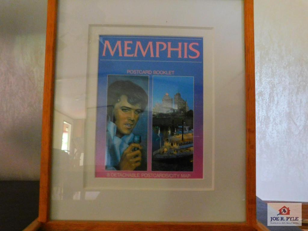 Framed Memphis postcard, booklet and map