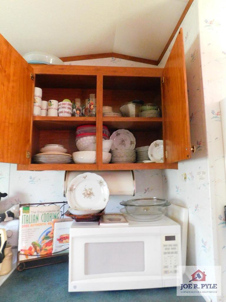 GE microwave, Haviland China, vintage metal bread box