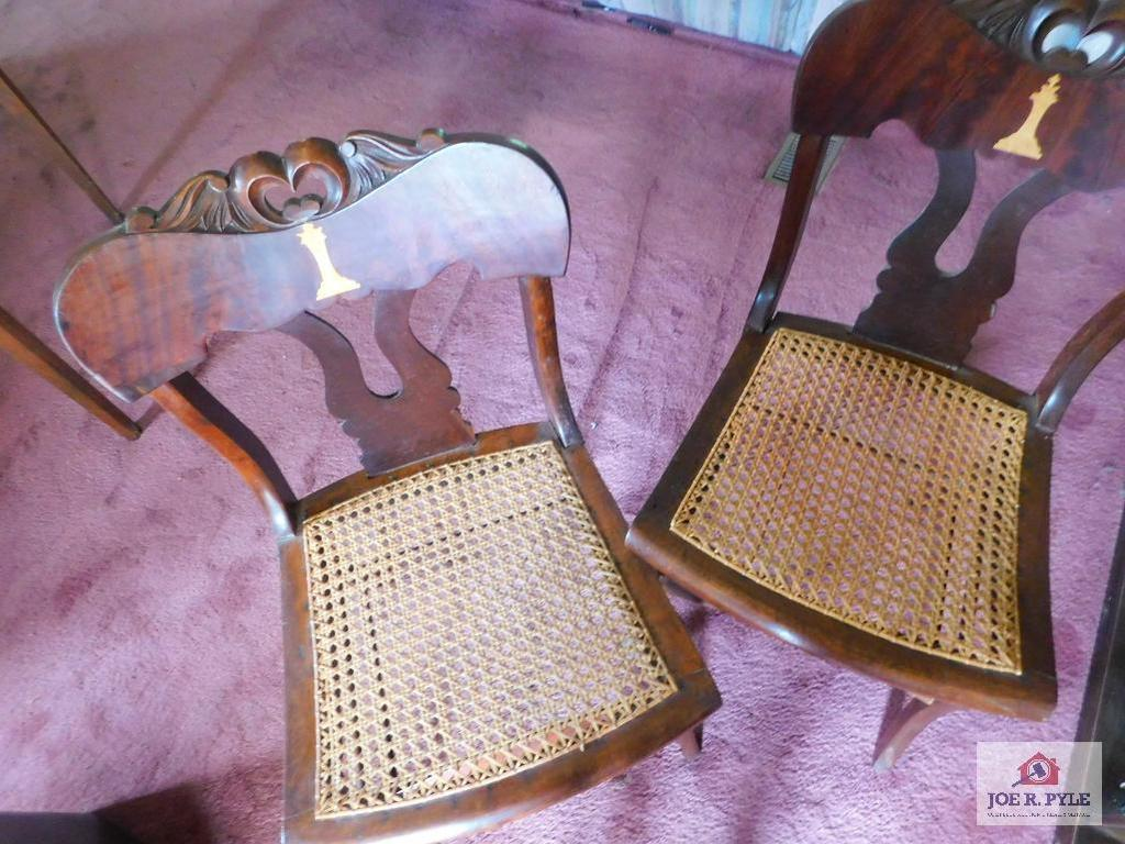Antique cane bottom chairs, with inlay