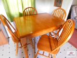 Dining table with hidden leaf, 4 chairs