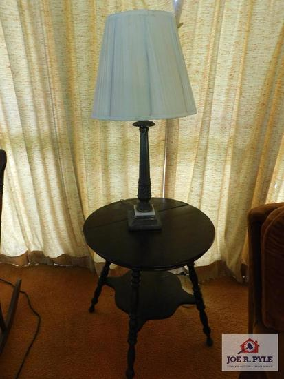 Spool leg table and lamp