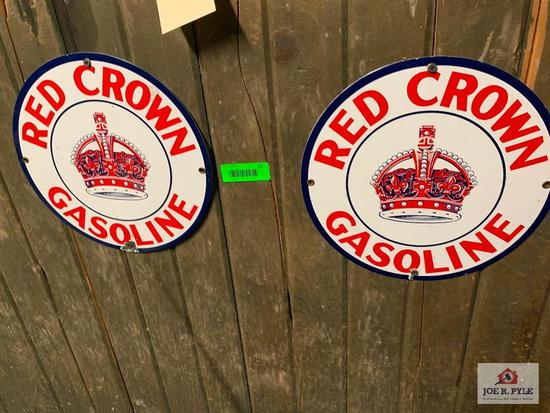 Pair Of Red Crown Gasoline Signs