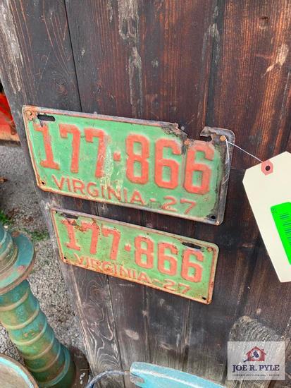 Pair Of 1927 Virginia License Plates