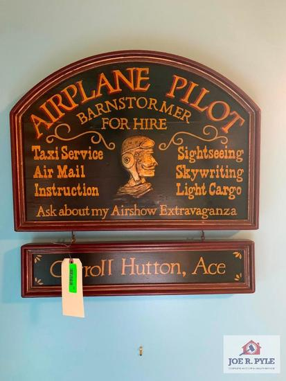 Wooden Airplane Pilot Sign