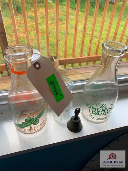 3 Milk Bottles, Greenbrier, Cottages, Homestead Berry Milk Bottles