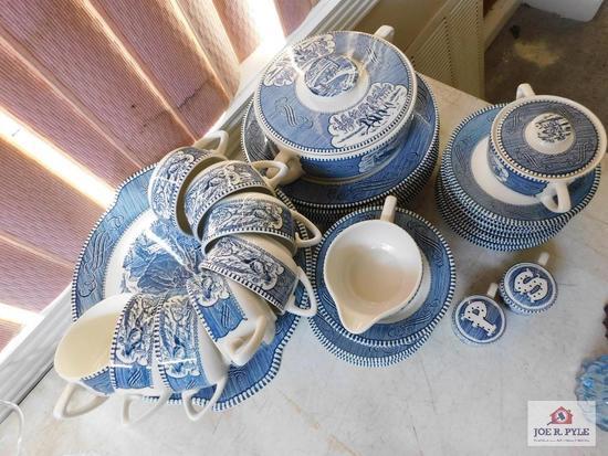 Blue & white dinnerware sugar, creamer, salt, pepper, covered veg
