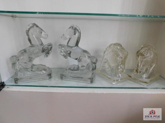 2 pr. Vintage glass bookends