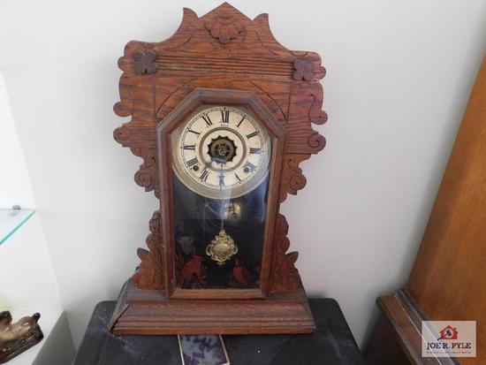 Antique oak, chiming kitchen clock Has key