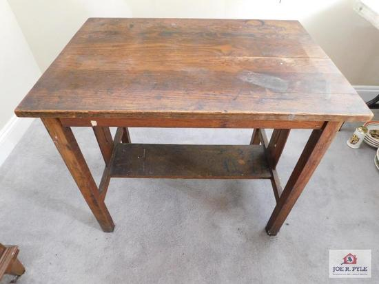 Antique oak library table