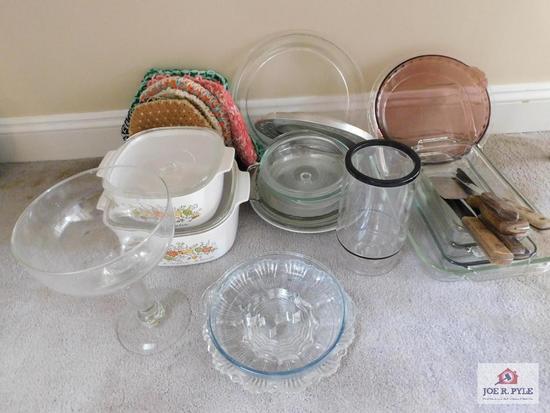 Corning cookware, pie plates, bread pans, bowls