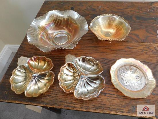 Carnival glass bowl, footed candy dishes