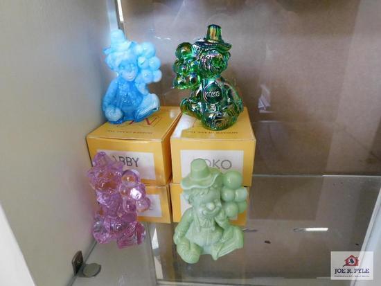 Mosser glass clowns, w/boxes