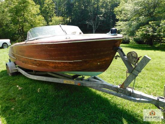 All wood boat/trailer, inboard motor, 8 cylinder gray marine engine